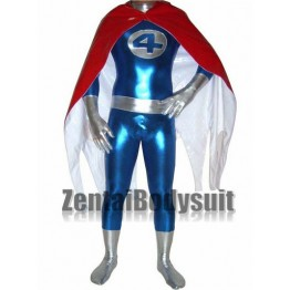 Shiny Metallic Fantastic Four Superhero Costume | Plus Cloak