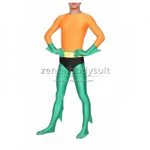 Aquaman Costume Orange And Green Lycra Spandex Superhero Zentai Suit