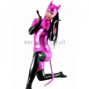 Pink And Black Shiny Metallic Catwoman Costume